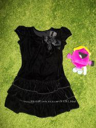 Бархатное платье с атласным бантом