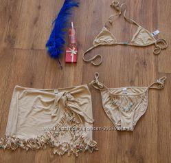 модный купальный комплект трусики лиф и повязка с бахромой, размер S