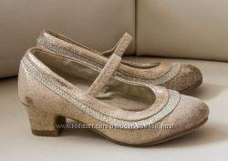 нарядные золотые туфли на каблуке MONSOON девочке 27 р-р