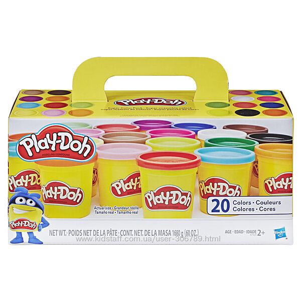 Play-Doh набор для лепки пластилин Плей до 20 банок Hasbro 1680 грамм