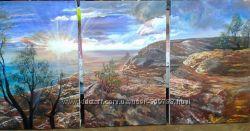 Триптих картина рассвет в горах