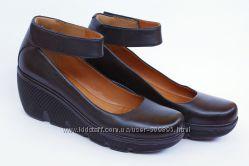 Clarks Clarene Tide туфли балетки на танкетке черные кожа