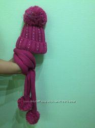Теплые шапка и шарфик на девочку в отличном состоянии