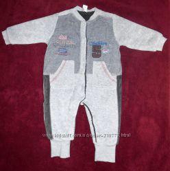 Велюровый утепленный комбинезон на мальчика 3-6 месяцев, 56-62 см