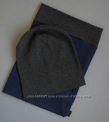 Комплект шапочка бини со снудом, темно-серый с синим. ОГ 48-56 см