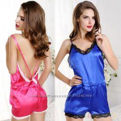 Кружевной ромпер для сна пижама -комбинезон 2 цвета