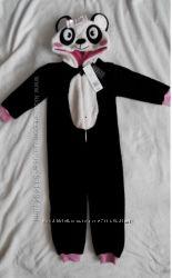 Теплый меховый человечек Панда девочке 3-4 лет Бесплатная доставка