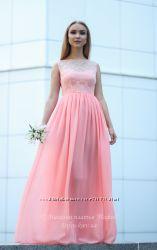 Шифоновое платье в пол с кружевом