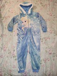 Теплая махровая пижама кигуруми Эльза Холодное сердце Frozen