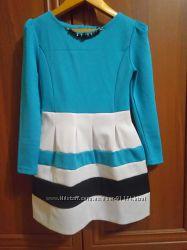 Праздничное Нарядное платье бирюза р. 134-2 шт, двойнятам