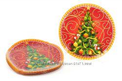 новогодние тарелки, пиалы , стекло
