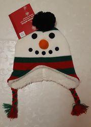 Зимняя шапочка Снеговичок 1-3г