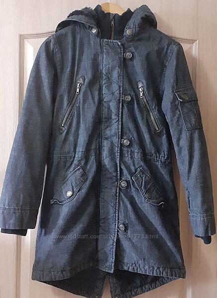 Демисезонная джинсовая парка на меху H&M размер 158