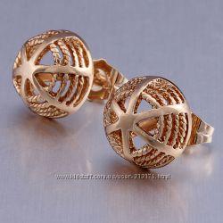 Чудесные, модные, очень красивые серьги-гвоздики, покр. золото 9К GF