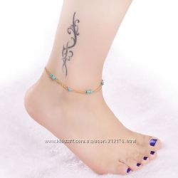 Милый, эротичный позолоченный браслетик на ногу с бисером