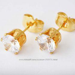 Чудесные, стильные, модные серьги с цирконом, покр. золото 9К Gold Filled