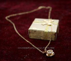 Роскошная, стильная подвеска Чашечка на цепочке, цирконы, покр. золото 9К
