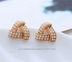 Бесподобные, элегантные, модные серьги с жемчужинками, покр. золото 9К GF