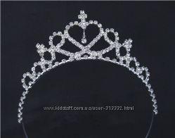 Корона тиара диадема для девочки принцессы с камнями металл