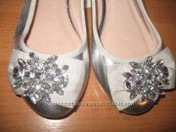 Красивые, серебряные балетки ф. Next uk6 39 р. 25 см по стельке.