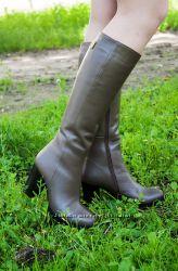 Сапоги кожаные на каблуке. Большой выбор