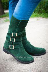 Сапоги кожаные стильные осень зима