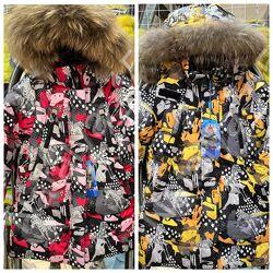 Зимнее пальто с зеброй Donilo 6138 для девочки натуральным мехом 104-152 р.