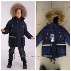 Шикарная зимняя куртка Kiko для мальчика с натуральным мехом 110-128