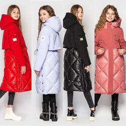 Модное зимнее пальто куртка для девочки от Cvetcov Рикки 128-158 р.