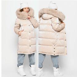 Зимнее пальто куртка с натуральным мехом X-Woyz DT-8323 110-164 р.