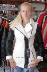 Пальто-бойфренд с кожаными стегаными рукавами 44 р.