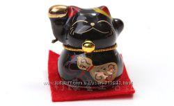 Сувенир Кошки Манэки-нэко черная керамика 1 шт