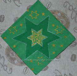 Салфетка для декупажа зеленая звезда, маленькая