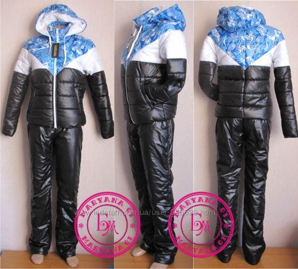 Зимний утеплённий женский костюм голубой S, M