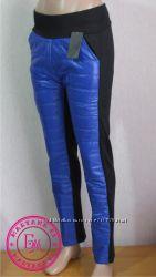 Зимние штаны дутики на флисе Синие