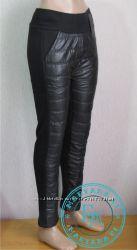 Зимние штаны дутики на флисе Черные