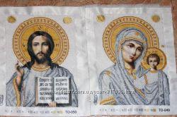 Икона Господь Вседержитель и Божья Матерь Казанская вышивка бисером