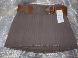 Стильная женская юбочка коричневая юбка с ремешком