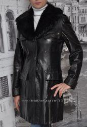 Стильное кожаное пальто. Еврозима