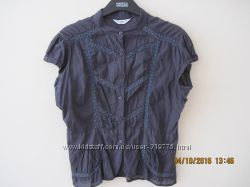 Классная блузка темно-черничного цвета Нью Лук батист англ. 12 разм.