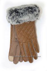 Коричневые перчатки с мехом 533