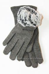 Женские перчатки Серые утеплитель кролик R52