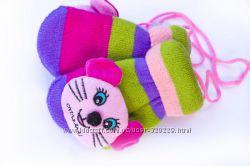 Детские варежки с мягкой игрушкой w095