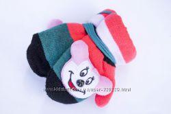 Детские варежки с мягкой игрушкой w097