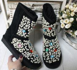 Угги узор , ботинки цветные крупные камни разные модели