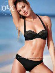 Купальник Victоrias Secret Push-up чёрный бюст 34С черные и белые плавки S