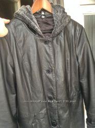 Пальто кожа на утеплении