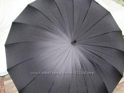 Семейный чёрный зонт трость 16 спиц Антиветер с диаметром купола 120см