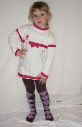 Распродажа Туника вязаная белая с красной отделкой от 4 до 9 лет Турция