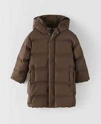 Пуховик Zara зимняя куртка Zara удлиненное пальто зара